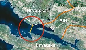 Карта зоны строительства моста